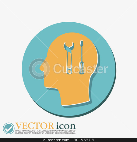 Vector Icon head think silhoutte vector man and his mind about symbol settings sign, screwdriver and wrench stock vector clipart, Vector Icon head think silhoutte vector man and his mind about symbol settings sign, screwdriver and wrench by LittleCuckoo