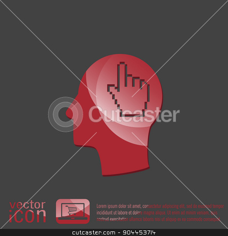 Vector Icon head think silhoutte vector man and his mind about mouse hand cursor stock vector clipart, Vector Icon head think silhoutte vector man and his mind about mouse hand cursor. pixel view by LittleCuckoo