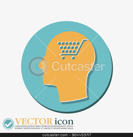 Vector Icon head think silhoutte vector man and his mind about cart online store stock vector clipart, Vector Icon head think silhoutte vector man and his mind about cart online store, Internet shop. basket shopping by LittleCuckoo
