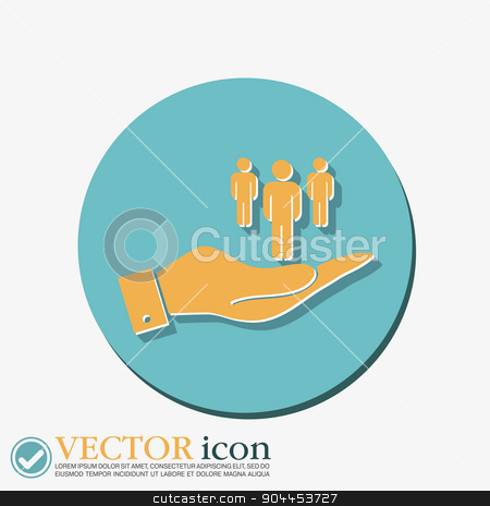 hand holding a silhouette of a men stock vector clipart, hand holding a the silhouette of a men by LittleCuckoo