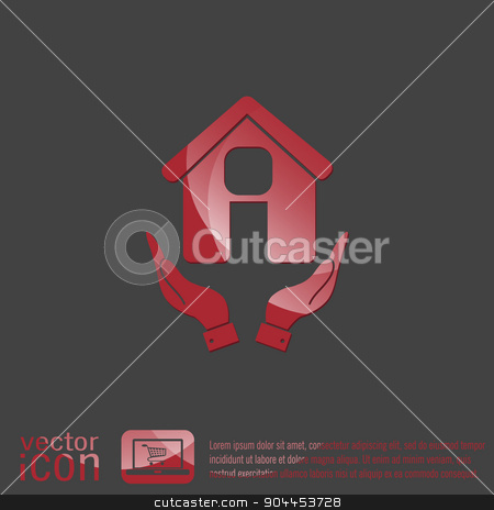 hand holding a House icon. Home sign stock vector clipart, hand holding a House icon. Home sign by LittleCuckoo