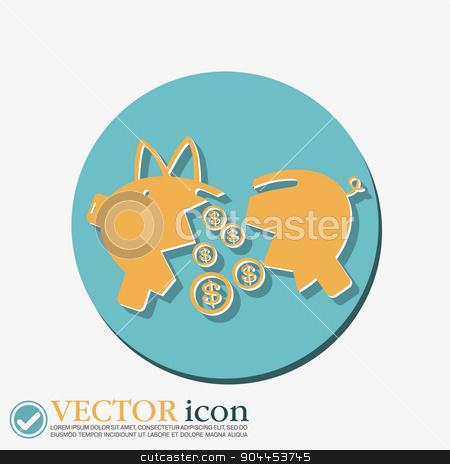 broken piggy Bank icon stock vector clipart, broken piggy Bank icon by LittleCuckoo