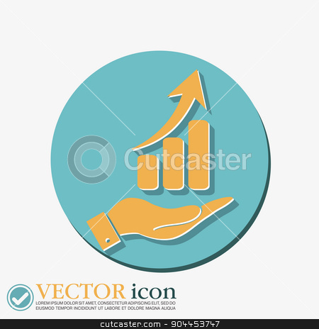hand holding a chart diagram figure.  business icon stock vector clipart, hand holding a chart diagram figure.  business icon by LittleCuckoo