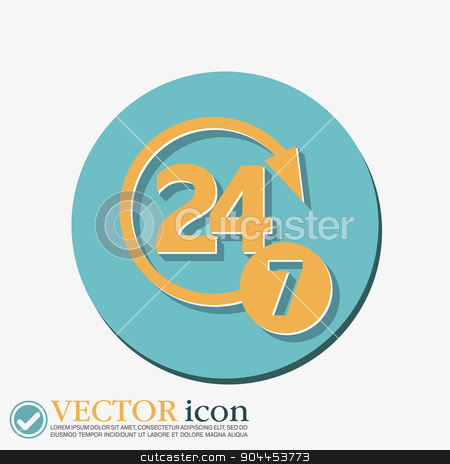 character 24 7. open 24 hours a day and 7 days a week icons stock vector clipart, 24 7 icon. open 24 hours a day and 7 days a week icons by LittleCuckoo