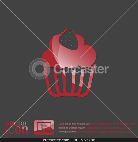 birthday cake icon stock vector clipart, birthday cake icon. symbol of cake. Celebrating the birthday of the loaf . by LittleCuckoo