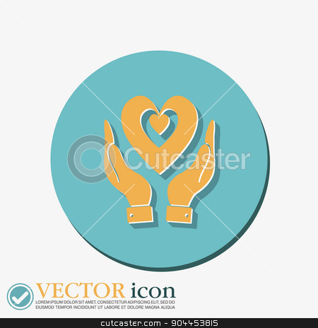 hand holding a heart icon, isolated vector symbol stock vector clipart, hand holding a heart icon, isolated vector symbol by LittleCuckoo