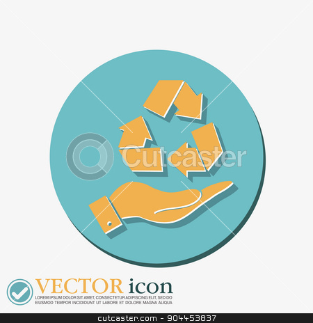 hand holding recycle symbol stock vector clipart, hand holding recycle symbol by LittleCuckoo