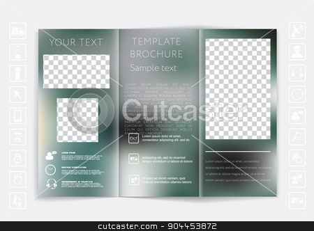 Tri-Fold Brochure mock up vector design. Smooth unfocused bokeh background.  stock vector clipart, Tri-Fold Brochure mock up vector design. Smooth unfocused bokeh background. Corporate Business Style by LittleCuckoo