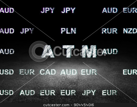 Money concept: ATM in grunge dark room stock photo, Money concept: Glowing text ATM in grunge dark room with Dirty Floor, black background with Currency by mkabakov