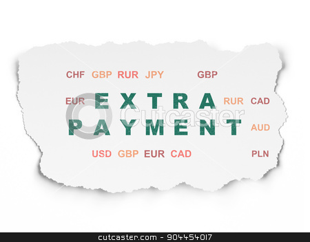 Money concept: Extra Payment on Torn Paper background stock photo, Money concept: Painted green text Extra Payment on Torn Paper background with  Currency, 3d render by mkabakov
