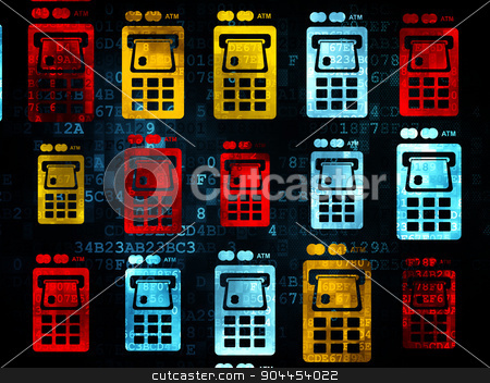Banking concept: ATM Machine icons on Digital background stock photo, Banking concept: Pixelated multicolor ATM Machine icons on Digital background, 3d render by mkabakov