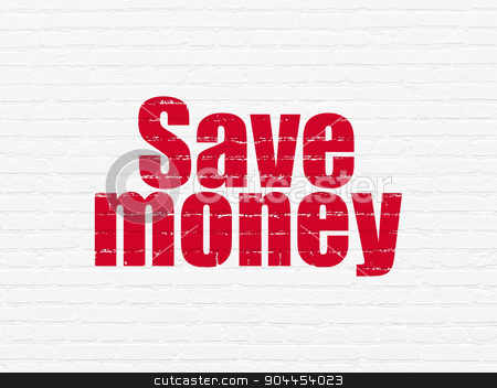 Money concept: Save Money on wall background stock photo, Money concept: Painted red text Save Money on White Brick wall background by mkabakov