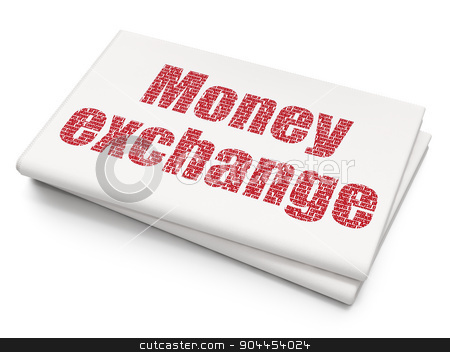 Banking concept: Money Exchange on Blank Newspaper background stock photo, Banking concept: Pixelated  Money Exchange icon on Blank Newspaper background, 3d render by mkabakov