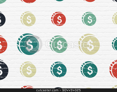 Banking concept: Dollar Coin icons on wall background stock photo, Banking concept: Painted multicolor Dollar Coin icons on White Brick wall background by mkabakov