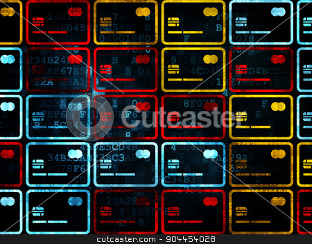 Banking concept: Credit Card icons on Digital background stock photo, Banking concept: Pixelated multicolor Credit Card icons on Digital background, 3d render by mkabakov