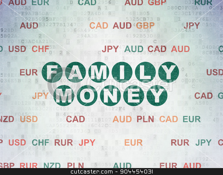 Currency concept: Family Money on Digital Paper background stock photo, Currency concept: Painted green text Family Money on Digital Paper background with Currency by mkabakov
