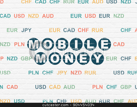 Banking concept: Mobile Money on wall background stock photo, Banking concept: Painted blue text Mobile Money on White Brick wall background with Currency by mkabakov