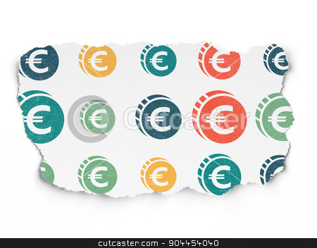 Currency concept: Euro Coin icons on Torn Paper background stock photo, Currency concept: Painted multicolor Euro Coin icons on Torn Paper background, 3d render by mkabakov