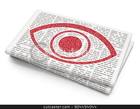 Security concept: Eye on Newspaper background stock photo, Security concept: Pixelated  Eye icon on Newspaper background, 3d render by mkabakov