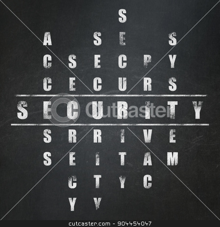 Security concept: word Security in solving Crossword Puzzle stock photo, Security concept: Painted White word Security in solving Crossword Puzzle on School Board background, 3d render by mkabakov