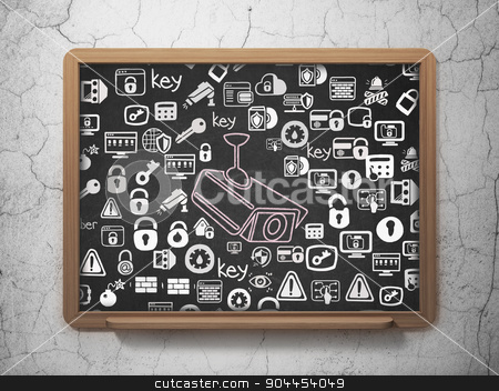 Protection concept: Cctv Camera on School Board background stock photo, Protection concept: Chalk Pink Cctv Camera icon on School Board background with  Hand Drawn Security Icons, 3d render by mkabakov