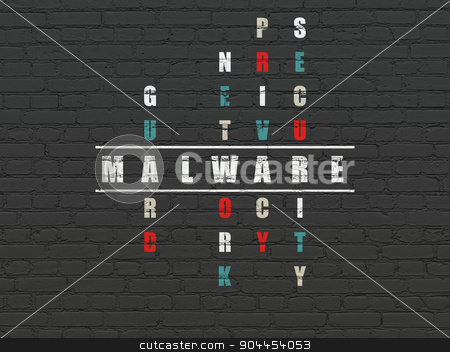Security concept: word Malware in solving Crossword Puzzle stock photo, Security concept: Painted white word Malware in solving Crossword Puzzle by mkabakov