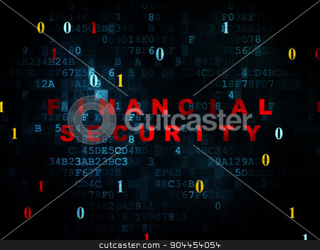 Privacy concept: Financial Security on Digital background stock photo, Privacy concept: Pixelated red text Financial Security on Digital wall background with Binary Code, 3d render by mkabakov