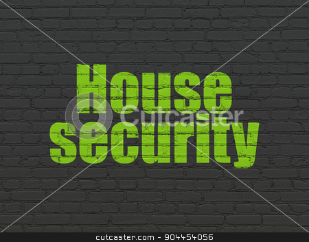 Safety concept: House Security on wall background stock photo, Safety concept: Painted green text House Security on Black Brick wall background by mkabakov