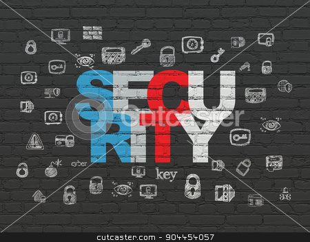 Safety concept: Security on wall background stock photo, Safety concept: Painted multicolor text Security on Black Brick wall background with  Hand Drawn Security Icons by mkabakov