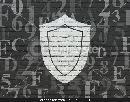 Safety concept: Shield on wall background stock photo, Safety concept: Painted white Shield icon on Black Brick wall background with  Hexadecimal Code by mkabakov