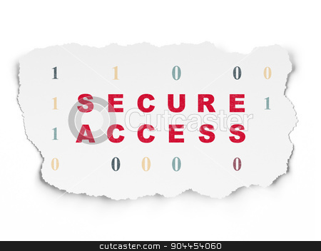 Safety concept: Secure Access on Torn Paper background stock photo, Safety concept: Painted red text Secure Access on Torn Paper background with  Binary Code, 3d render by mkabakov