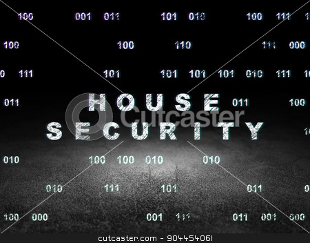 Safety concept: House Security in grunge dark room stock photo, Safety concept: Glowing text House Security in grunge dark room with Dirty Floor, black background with Binary Code by mkabakov
