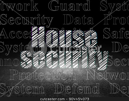 Protection concept: House Security in grunge dark room stock photo, Protection concept: Glowing text House Security in grunge dark room with Dirty Floor, black background with  Tag Cloud by mkabakov