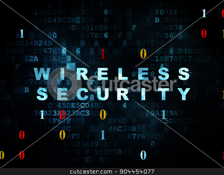Security concept: Wireless Security on Digital background stock photo, Security concept: Pixelated blue text Wireless Security on Digital wall background with Binary Code, 3d render by mkabakov