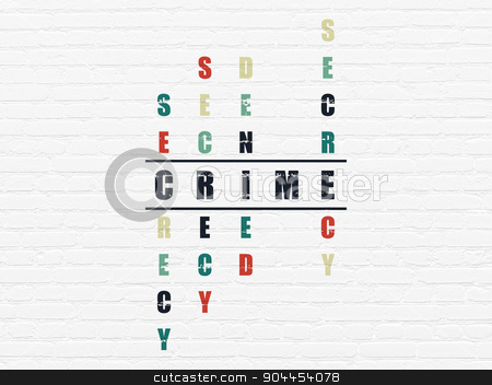 Safety concept: word Crime in solving Crossword Puzzle stock photo, Safety concept: Painted black word Crime in solving Crossword Puzzle by mkabakov