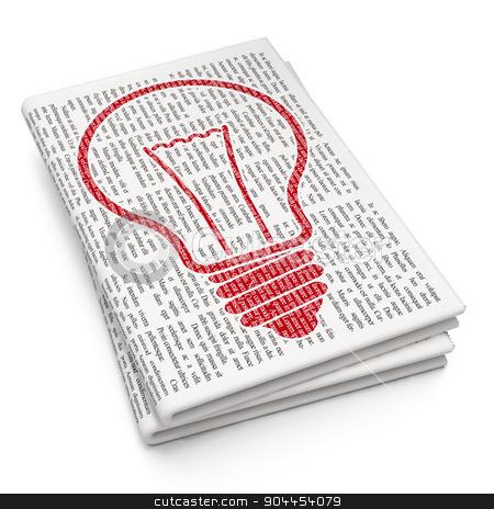 Finance concept: Light Bulb on Newspaper background stock photo, Finance concept: Pixelated  Light Bulb icon on Newspaper background, 3d render by mkabakov
