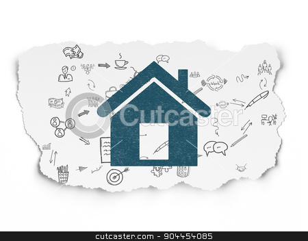 Business concept: Home on Torn Paper background stock photo, Business concept: Painted blue Home icon on Torn Paper background with Scheme Of Hand Drawn Business Icons, 3d render by mkabakov