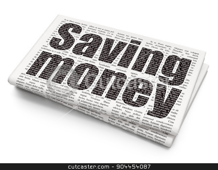 Business concept: Saving Money on Newspaper background stock photo, Business concept: Pixelated  Saving Money icon on Newspaper background, 3d render by mkabakov