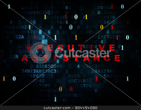 Finance concept: Executive Assistance on Digital background stock photo, Finance concept: Pixelated red text Executive Assistance on Digital wall background with Binary Code, 3d render by mkabakov