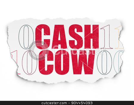 Finance concept: Cash Cow on Torn Paper background stock photo, Finance concept: Painted red text Cash Cow on Torn Paper background with  Binary Code, 3d render by mkabakov