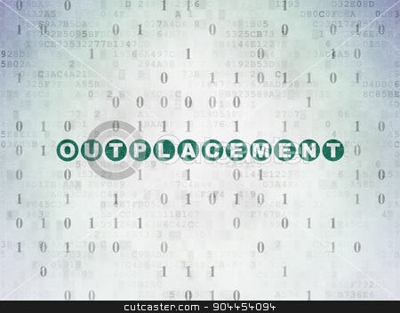 Finance concept: Outplacement on Digital Paper background stock photo, Finance concept: Painted green text Outplacement on Digital Paper background with Binary Code by mkabakov