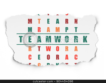Finance concept: word Teamwork in solving Crossword Puzzle stock photo, Finance concept: Painted green word Teamwork in solving Crossword Puzzle on Torn Paper background, 3d render by mkabakov