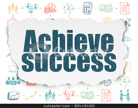 Business concept: Achieve Success on Torn Paper background stock photo, Business concept: Painted blue text Achieve Success on Torn Paper background with Scheme Of Hand Drawn Business Icons, 3d render by mkabakov