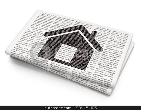 Finance concept: Home on Newspaper background stock photo, Finance concept: Pixelated  Home icon on Newspaper background, 3d render by mkabakov