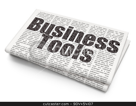 Finance concept: Business Tools on Newspaper background stock photo, Finance concept: Pixelated  Business Tools icon on Newspaper background, 3d render by mkabakov