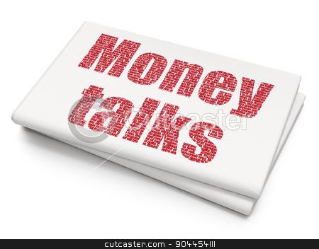 Finance concept: Money Talks on Blank Newspaper background stock photo, Finance concept: Pixelated  Money Talks icon on Blank Newspaper background, 3d render by mkabakov