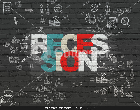 Finance concept: Recession on wall background stock photo, Finance concept: Painted multicolor text Recession on Black Brick wall background with Scheme Of Hand Drawn Business Icons by mkabakov