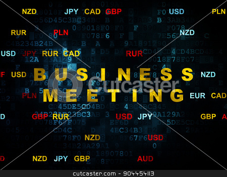 Finance concept: Business Meeting on Digital background stock photo, Finance concept: Pixelated yellow text Business Meeting on Digital wall background with Currency, 3d render by mkabakov