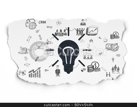 Business concept: Light Bulb on Torn Paper background stock photo, Business concept: Painted black Light Bulb icon on Torn Paper background with Scheme Of Hand Drawn Business Icons, 3d render by mkabakov