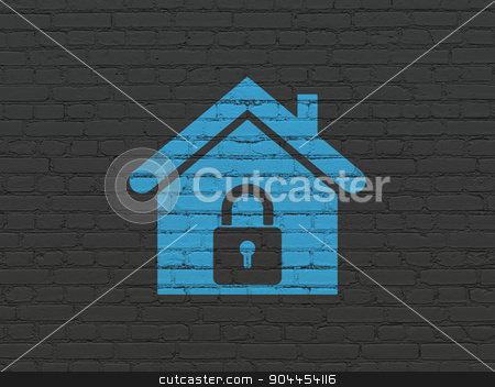 Business concept: Home on wall background stock photo, Business concept: Painted blue Home icon on Black Brick wall background by mkabakov